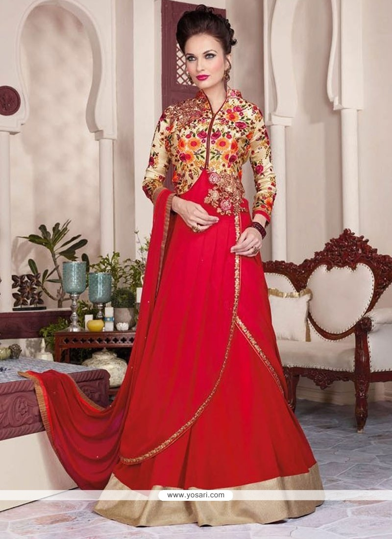 Stupendous Georgette Red Floor Length Anarkali Salwar Suit