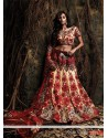 Maroon And Cream Silk Resham Lehenga Choli