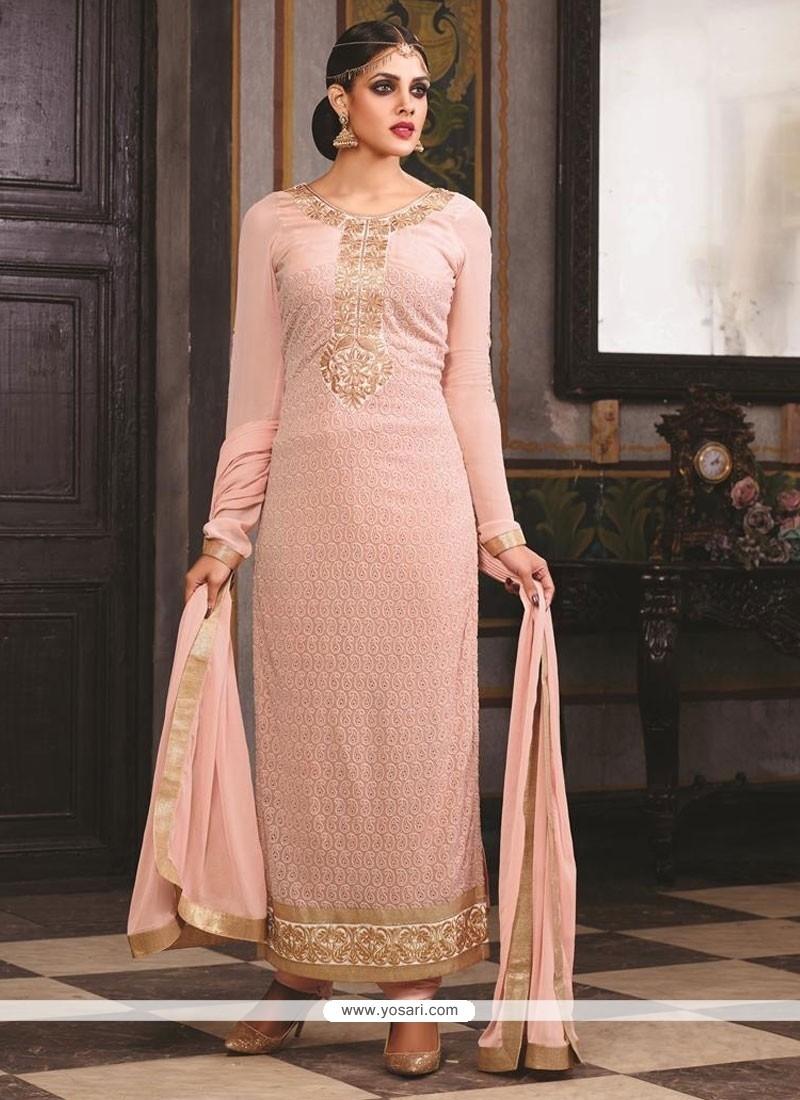 Demure Resham Work Georgette Pink Designer Suit