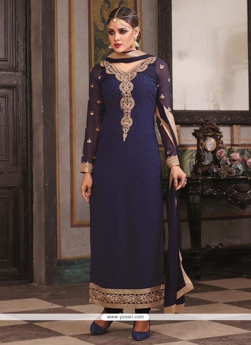 Marvelous Embroidered Work Navy Blue Designer Suit