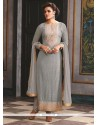 Suave Georgette Grey Embroidered Work Designer Suit