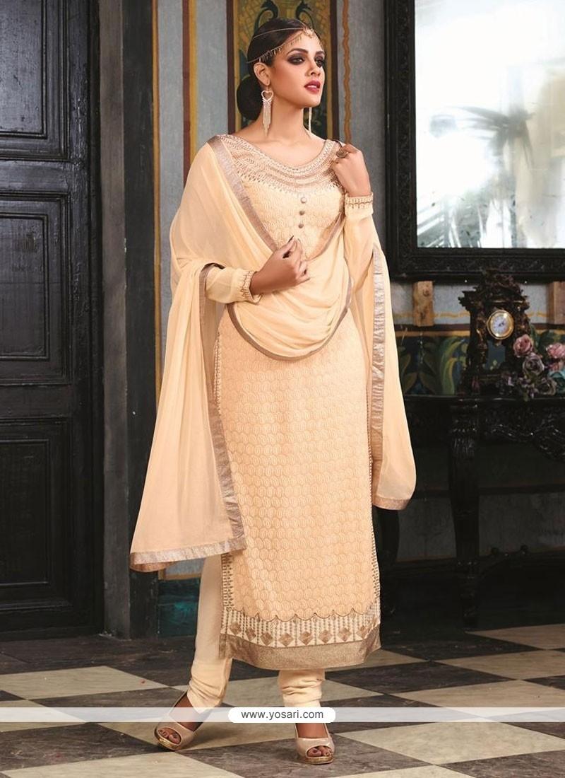 Marvelous Embroidered Work Georgette Designer Suit