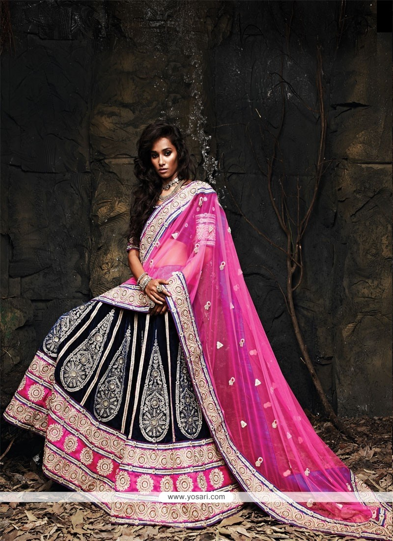 Glowing Blue And Pink Velvet Net Lehenga Choli