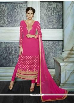 Lovable Embroidered Work Hot Pink Georgette Designer Suit