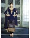 Transcendent Navy Blue Embroidered Work Georgette Designer Suit