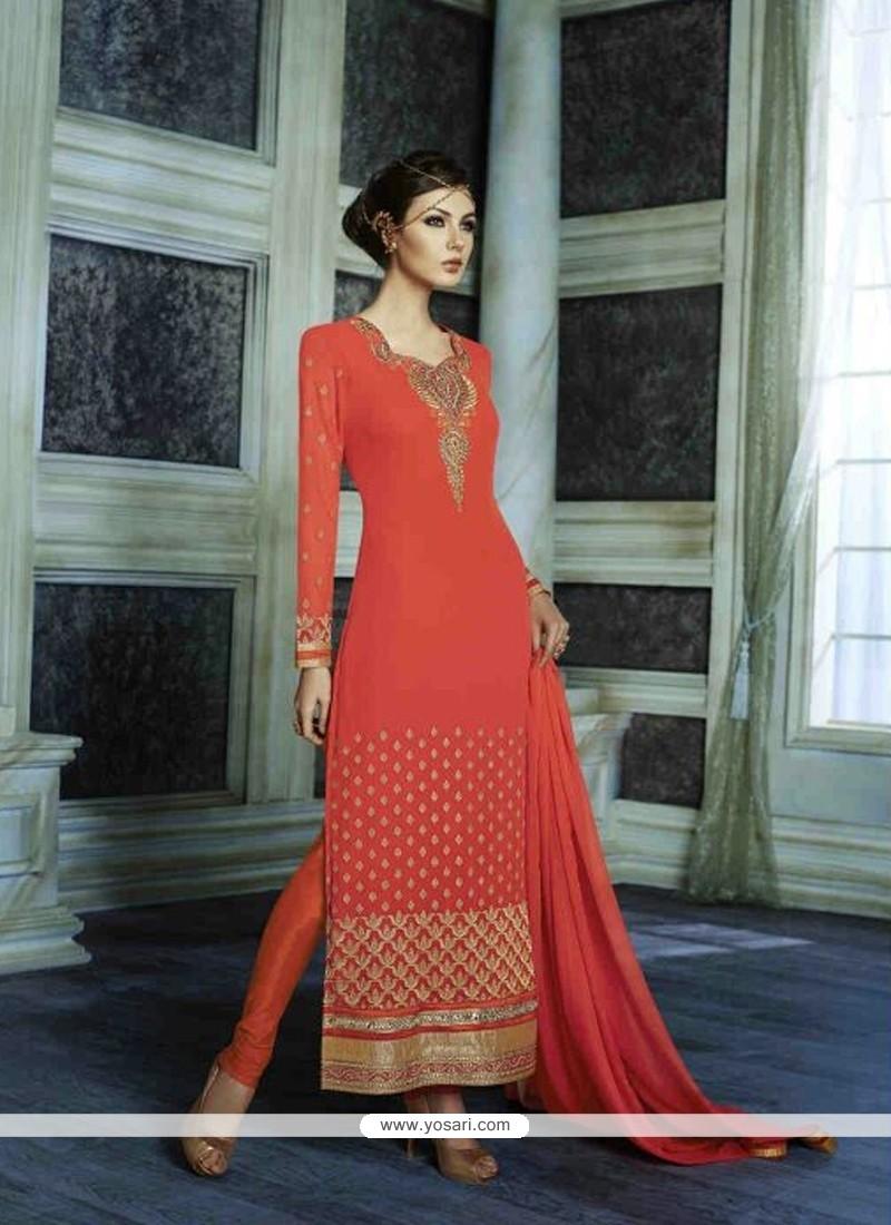 Superb Patch Border Work Orange Georgette Designer Suit