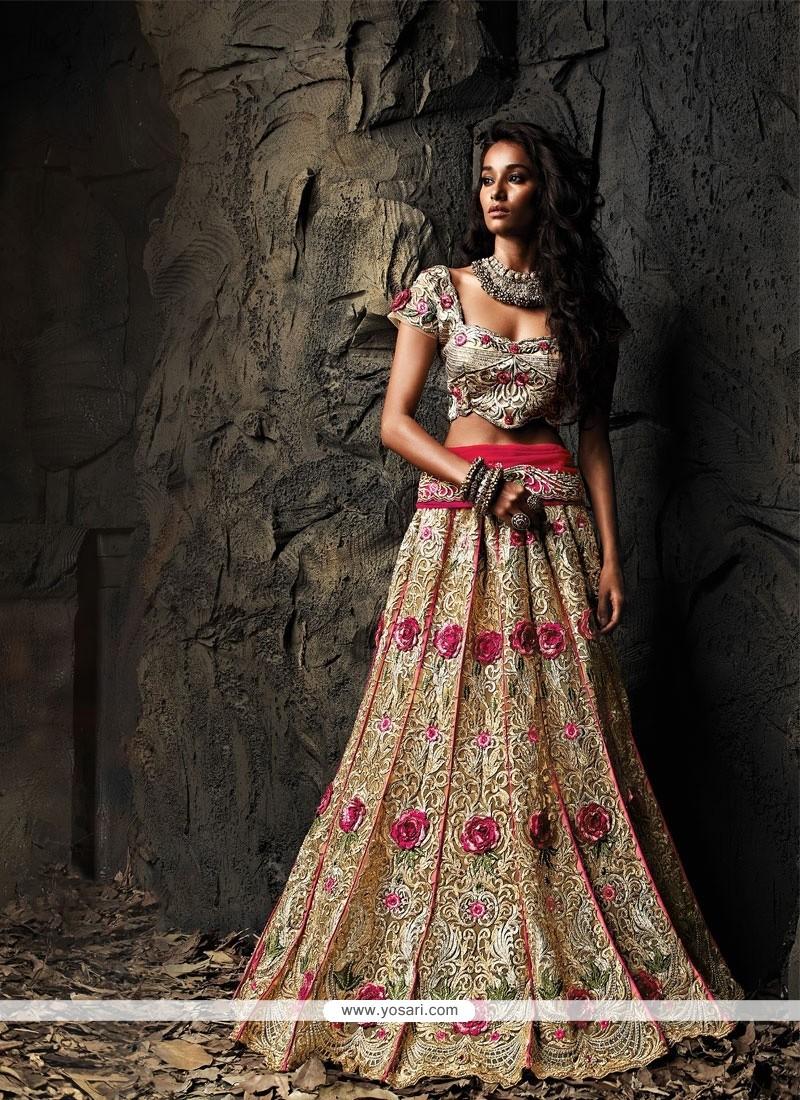 Girlish Beige Pure Silk Net Embroidered Lehenga Choli