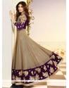 Shilpa Shetty Embroidered Work Purple Anarkali Salwar Kameez