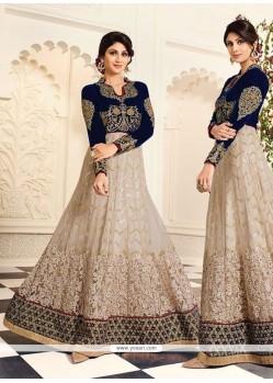 Shilpa Shetty Embroidered Work Raw Silk Anarkali Salwar Kameez