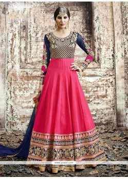 Masterly Patch Border Work Hot Pink Anarkali Salwar Kameez