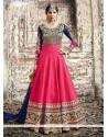 Masterly Patch Border Work Hot Pink Anarkali Salwar Kameez