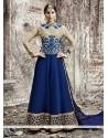 Sensible Embroidered Work Georgette Blue Anarkali Salwar Kameez