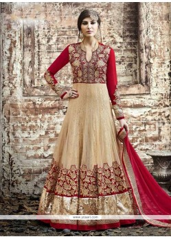 Extraordinary Beige And Red Patch Border Work Anarkali Salwar Kameez