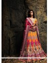 Orange And Pink Net Bridal Lehenga Choli
