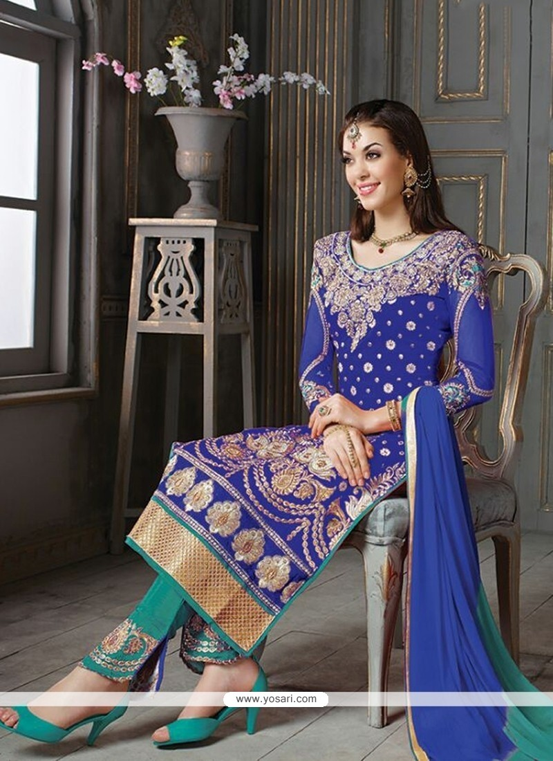 Prominent Silk Blue Embroidered Work Designer Suit