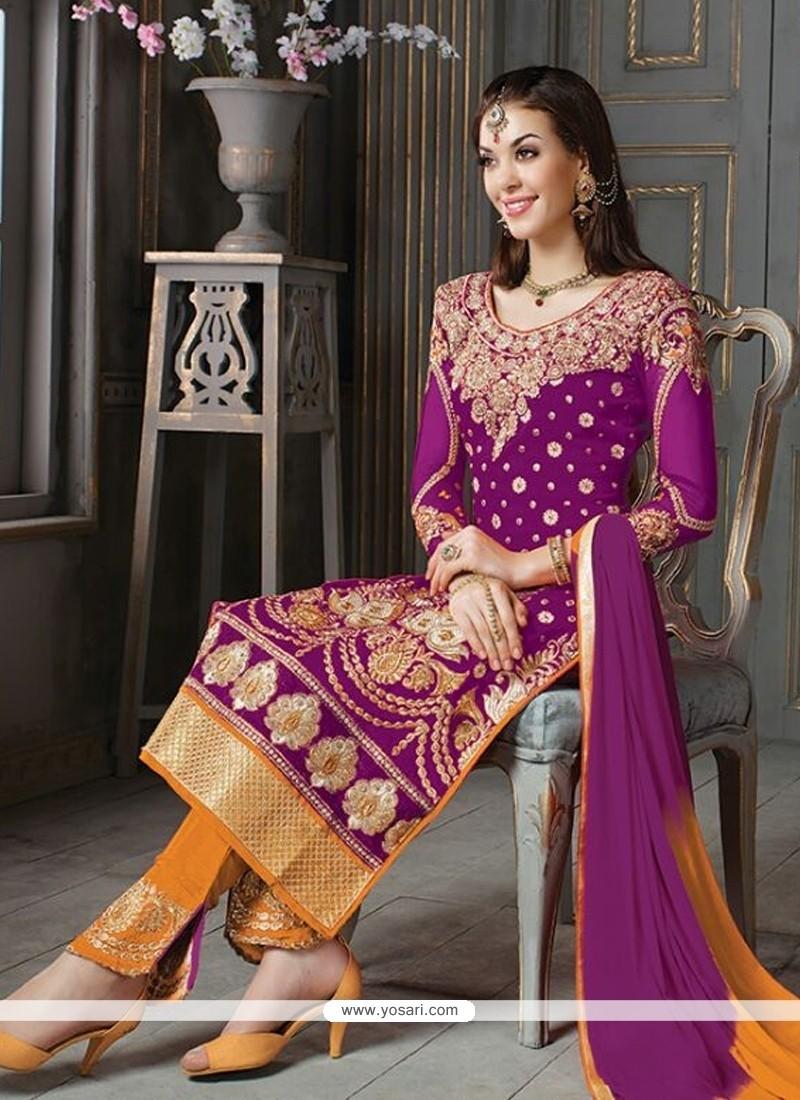 Ruritanian Purple Patch Border Work Silk Designer Suit