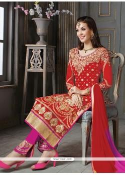 Stunning Red Patch Border Work Designer Suit