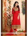 Glamorous Georgette Red Designer Suit