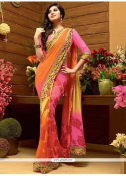 Exceptional Multicolour Shaded Faux Georgette Printed Saree