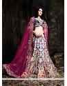 Elite Cream And Blue Net Designer Lehenga Choli