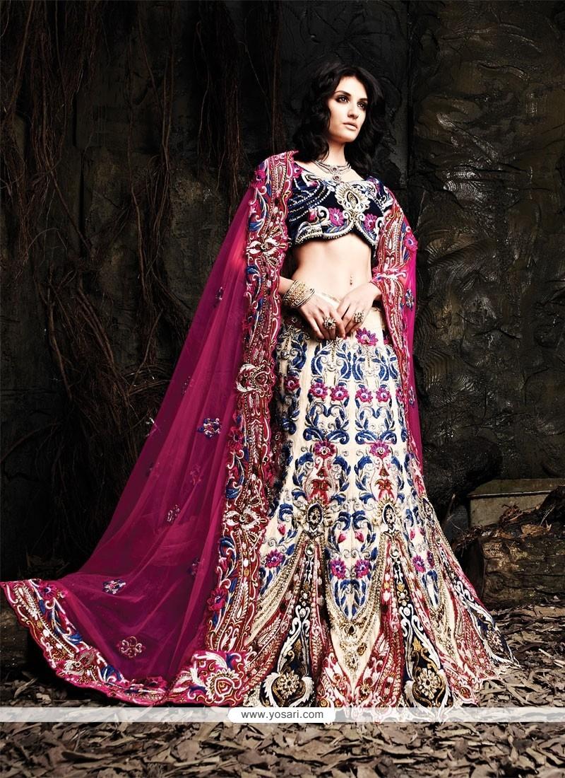 Elite Cream And Blue Net Designer Lehenga Choli