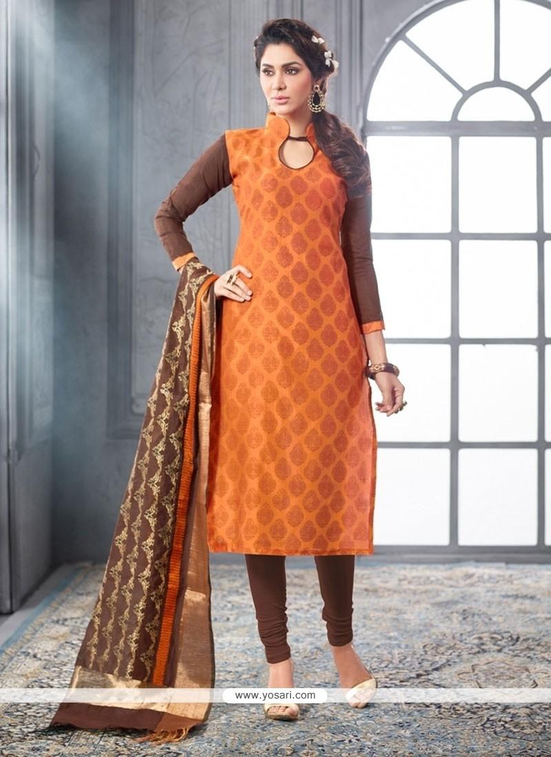 Phenomenal Chanderi Cotton Lace Work Churidar Designer Suit