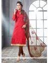 Sparkling Chanderi Cotton Red Embroidered Work Churidar Designer Suit