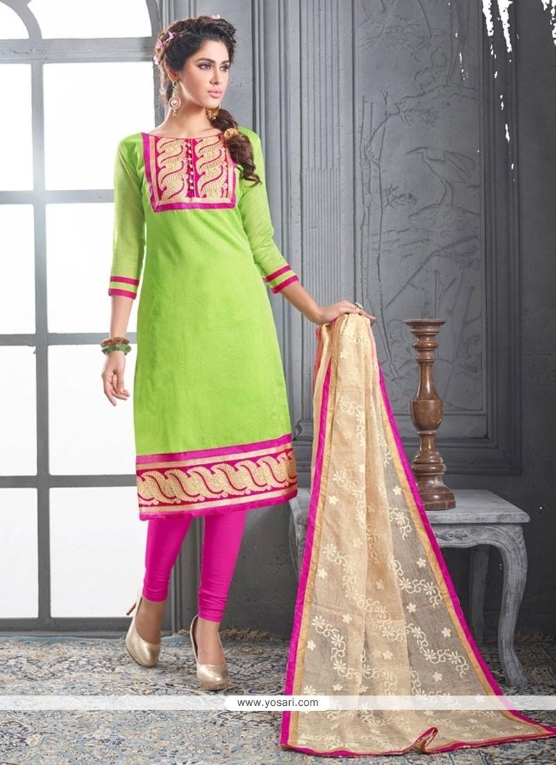 Monumental Chanderi Cotton Green Embroidered Work Churidar Designer Suit