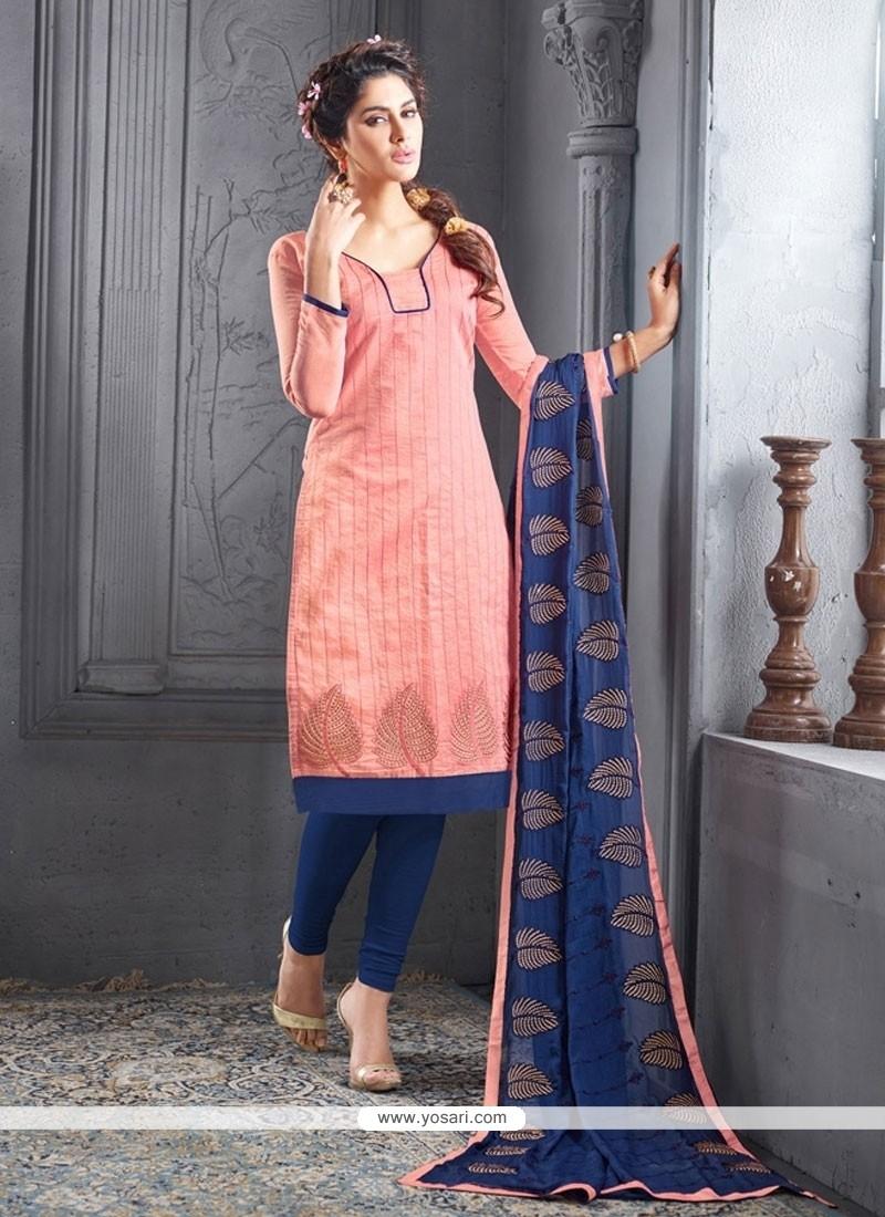 Tempting Chanderi Cotton Churidar Designer Suit
