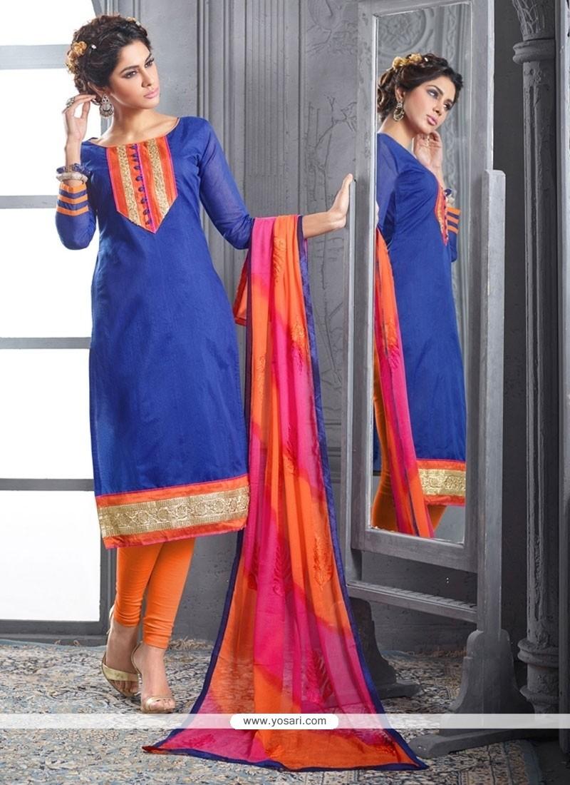 Fab Embroidered Work Chanderi Cotton Blue Churidar Designer Suit