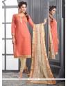 Impressive Chanderi Cotton Peach Churidar Designer Suit