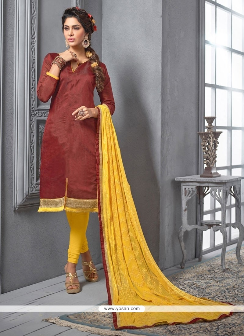 Lustre Chanderi Cotton Rust Churidar Designer Suit