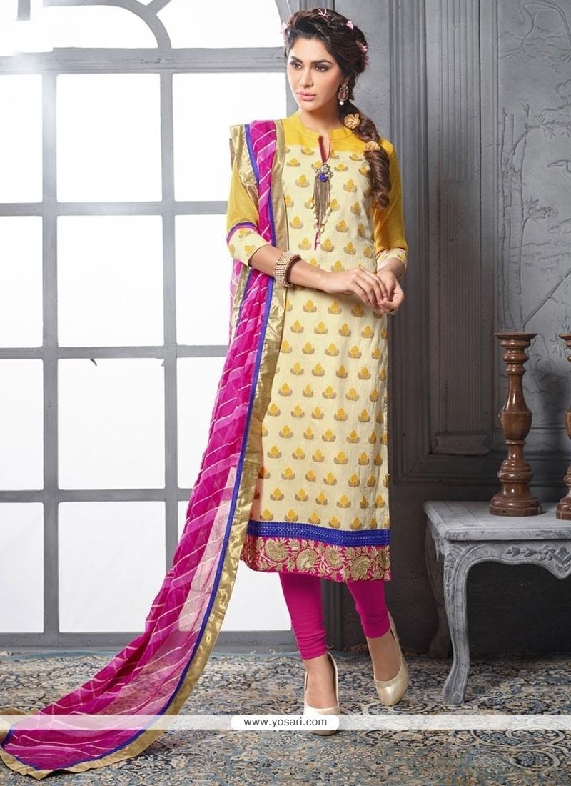 Modest Chanderi Cotton Cream And Hot Pink Lace Work Churidar Designer Suit