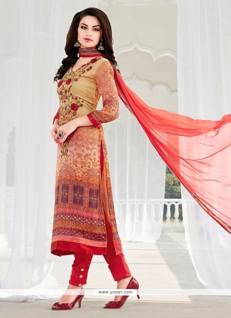 Lovable Print Work Multi Colour Georgette Designer Suit