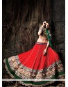 Red And Green Pure Silk Designer Lehenga Choli