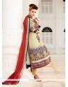 Distinctive Satin Multi Colour Print Work Designer Suit