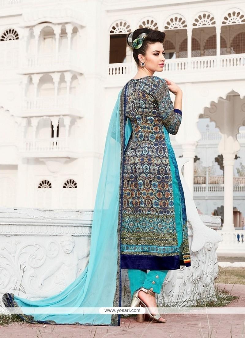 Impeccable Multi Colour Print Work Designer Suit