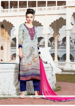 Prepossessing Print Work Georgette Multi Colour Designer Suit