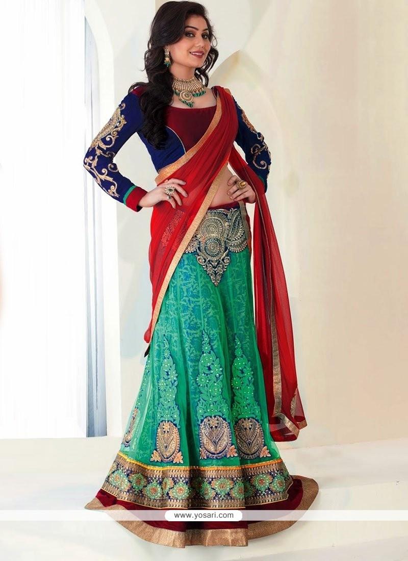 Glorious Green Net Applique Lehenga Choli