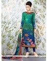 Exquisite Multi Colour Lace Work Faux Crepe Churidar Designer Suit