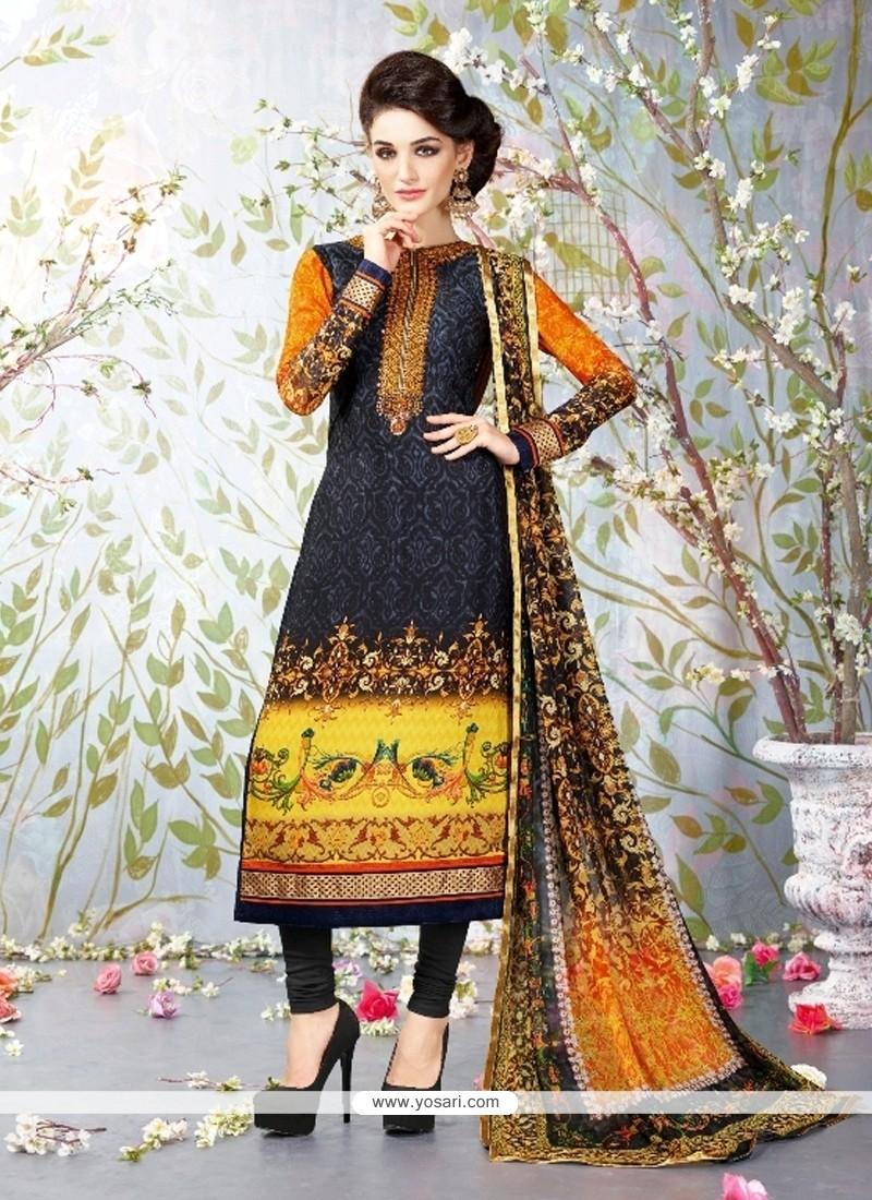 Exotic Lace Work Faux Crepe Multi Colour Churidar Designer Suit