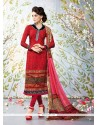 Awesome Faux Crepe Red Churidar Designer Suit