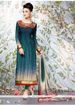Classy Multi Colour Digital Print Work Churidar Designer Suit
