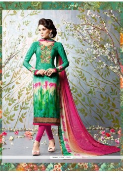 Affectionate Sea Green Churidar Designer Suit