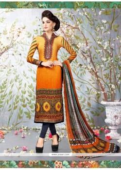 Radiant Faux Crepe Multi Colour Lace Work Churidar Designer Suit