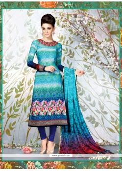 Pristine Faux Crepe Turquoise Churidar Designer Suit
