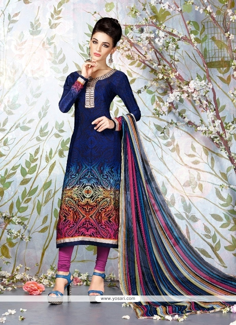 Intricate Navy Blue Faux Crepe Churidar Designer Suit