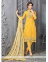 Cherubic Yellow Embroidered Work Chanderi Cotton Churidar Designer Suit