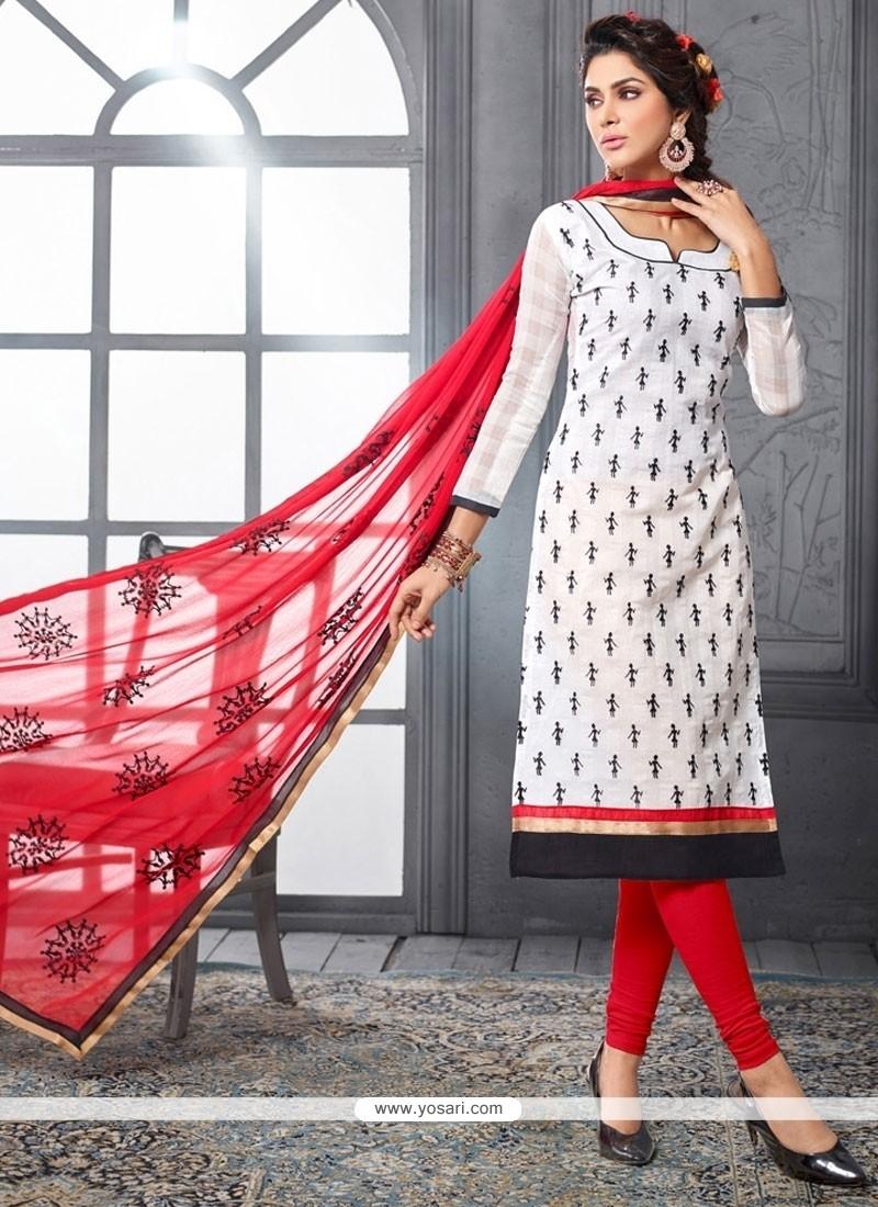 Astonishing Embroidered Work Churidar Designer Suit