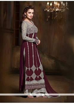 Diya Mirza Wine Embroidered Work Designer Suit